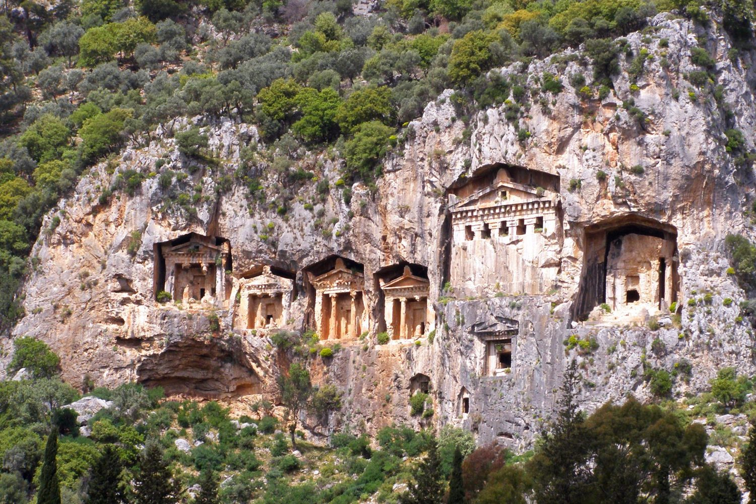 Famous Lycian Tombs of ancient Caunos city, Dalyan, Turkey. Archaeological remains.