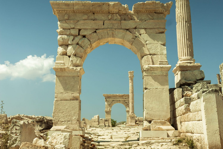 Sagalassos Acient City Historical Castle Column Ruins.
